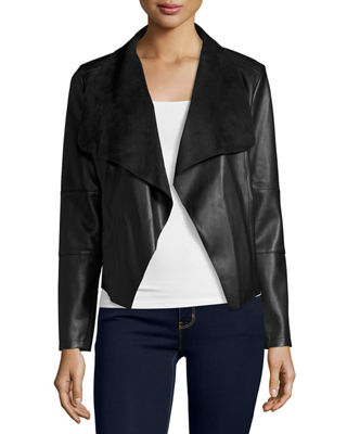 Theory Faux-Leather Open-Front Blazer