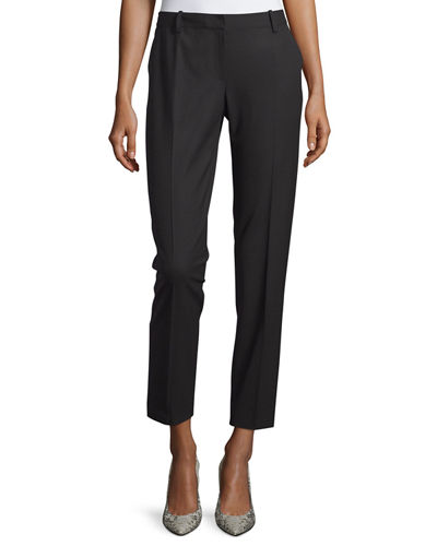 Bedford Wool-Blend Slim-Leg Pants, Black