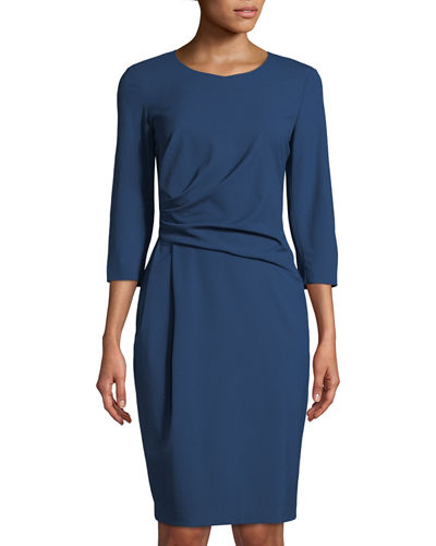 Ruched 3/4-Sleeve Sheath Dress, Lead