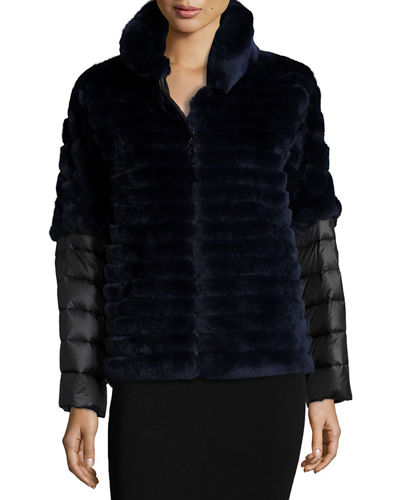 Rabbit Fur Jacket w/ Removable Down Sleeves