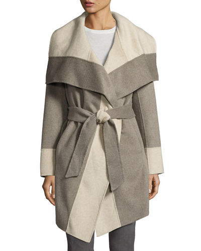Mackenzie Wool-Blend Colorblock Wrap Coat