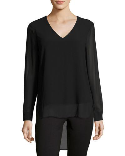 Long-Sleeve V-Neck High-Low Blouse