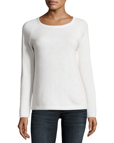 Pearl-Stud Cashmere Sweater