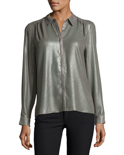 Washed-Foil Button-Down Top