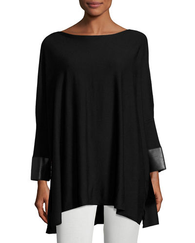 Faux-Leather Cuffed Oversized Sweater