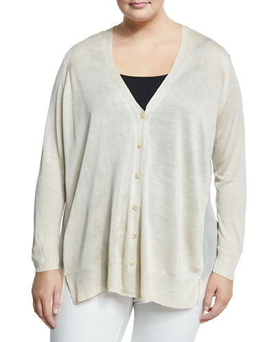 Chiffon-Back Lightweight Cardigan, Plus Size