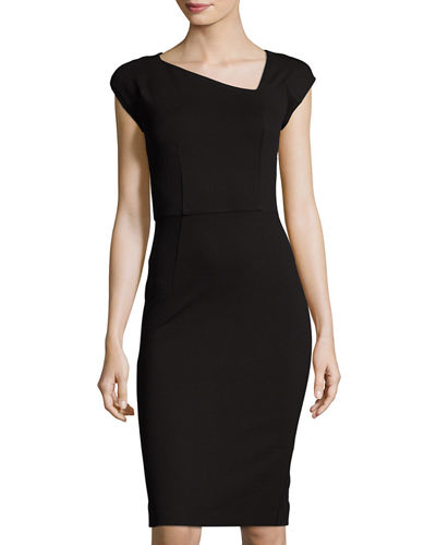 Lula Asymmetric-Neck Knit Dress
