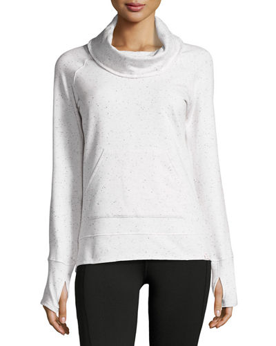 Funnel-Neck Speckled Sweatshirt