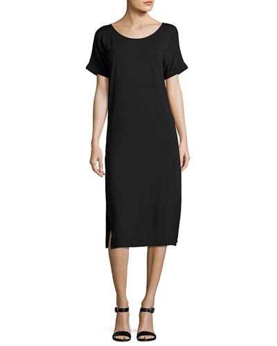 Side-Slit Jersey Maxi Tee Dress
