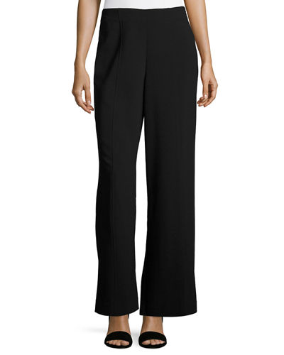 Wide-Leg Stretch-Crepe Pants