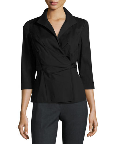 Keisha 3/4-Sleeve Wrap Blouse