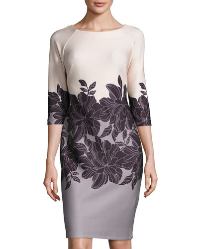 Floral-Print 3/4-Sleeve Scuba Sheath Dress