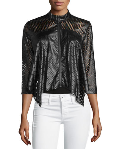 Perforated Faux-Leather Jacket
