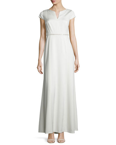 Cap-Sleeve Sequined-Waist A-line Gown