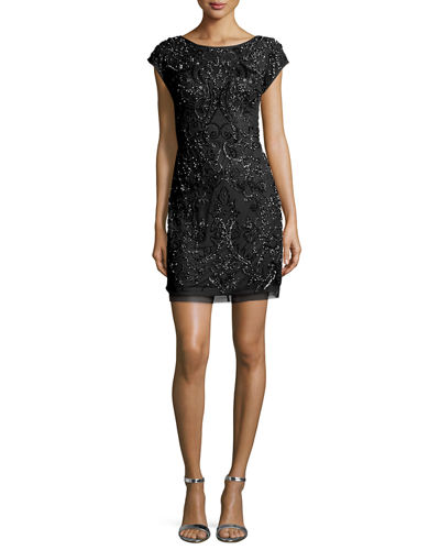 Cap-Sleeve Beaded Cocktail Dress