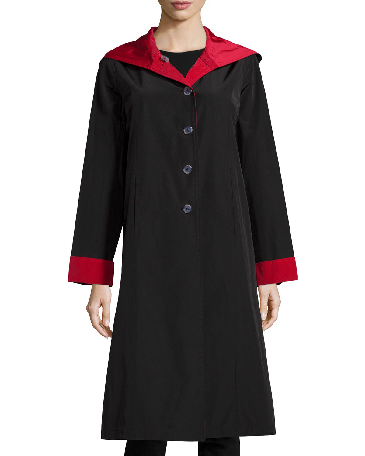 Jane Post HOODED BUTTON-FRONT REVERSIBLE COAT