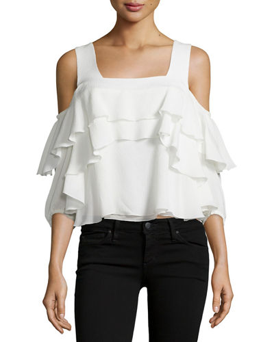 Viga Cold-Shoulder Silk Ruffle Top