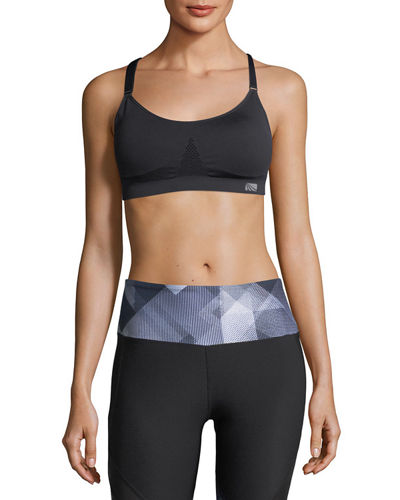 Space-Dye Mesh-Trim Sports Bra