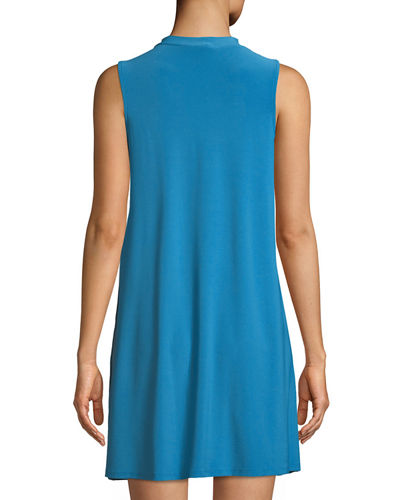 Sleeveless Mock-Neck Trapeze Dress