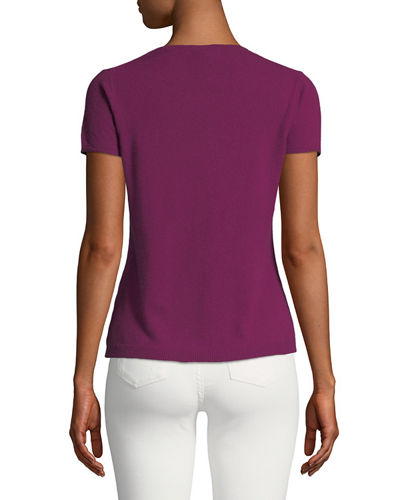 Cashmere Short-Sleeve Pullover Top