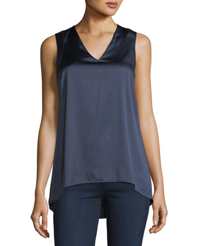 Sleeveless V-Neck Satin Tank, Blue