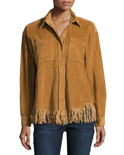 Frayed-Hem Button-Front Corduroy Top