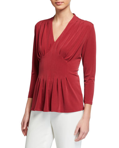 Inverted Pleat Long Sleeve Top