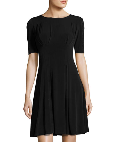 Pleated Fit & Flare Dress  Black