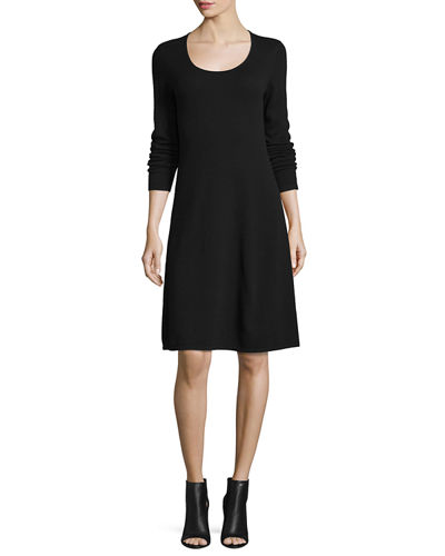 21165fc864b Magaschoni Cashmere Long-Sleeve Fit- -Flare Dress