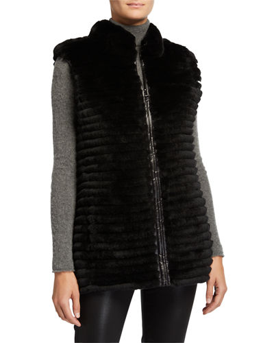 Quilted Rex Rabbit Fur Reversible Down Vest
