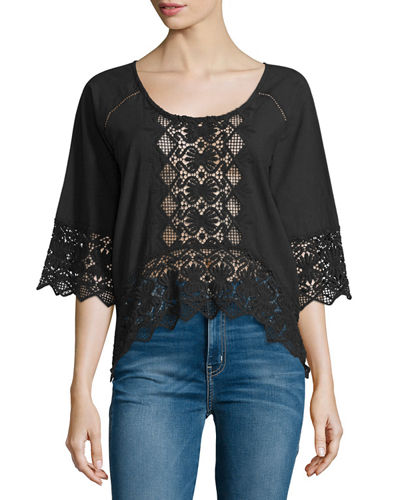 Lace-Inset Half-Sleeve Blouse
