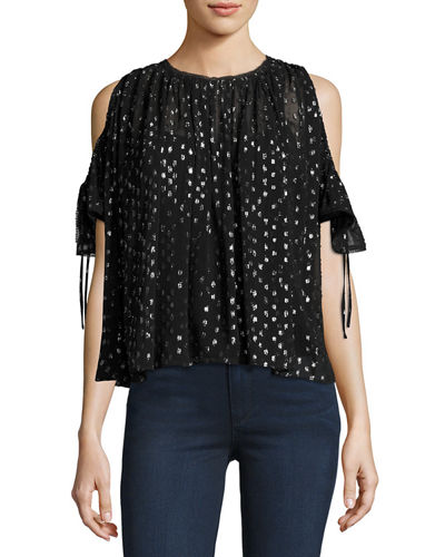 Metallic Clip-Dot Cold-Shoulder Chiffon Top