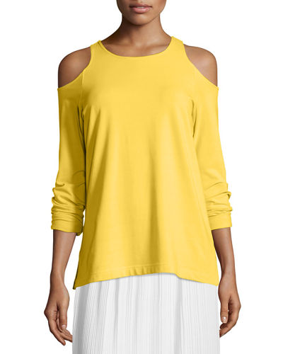 Joan Vass Cold-Shoulder Long-Sleeve Top, Petite