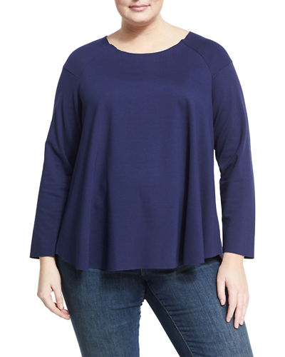 Raglan-Sleeve Swing Top, Plus Size