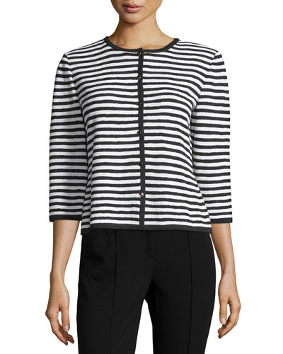 Santana Striped 3/4-Sleeve Cardigan