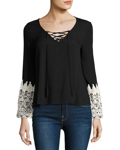 Relaxed Blouse with Crochet-Trim Sleeves