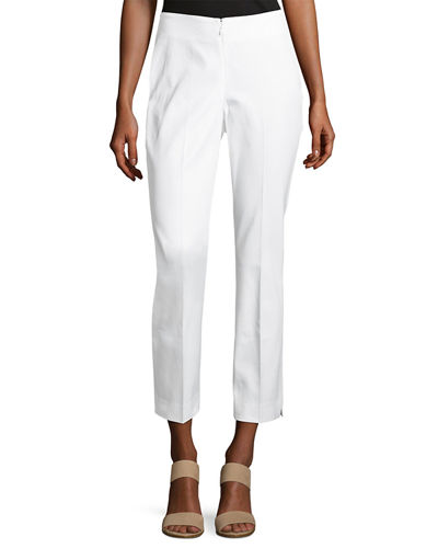 No-Waist Invisible-Fly Ankle Trousers, White