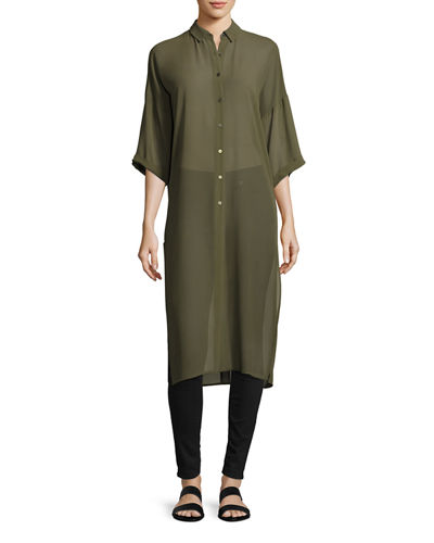 Dolman-Sleeve Button-Up Tunic