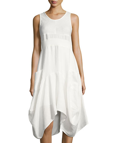 Sleeveless Ribbed-Waist Linen Dress