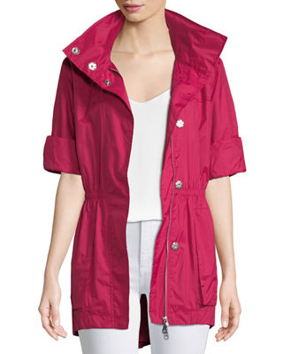RAISON D'ETRE Rolled-Sleeve Anorak Jacket in Pink