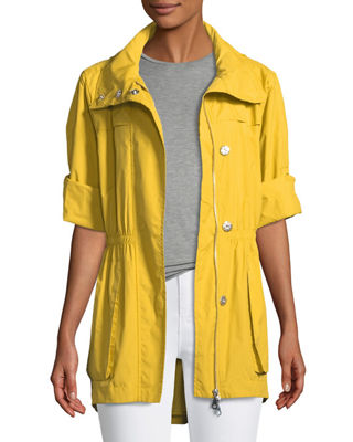 RAISON D'ETRE Rolled-Sleeve Anorak Jacket in Yellow