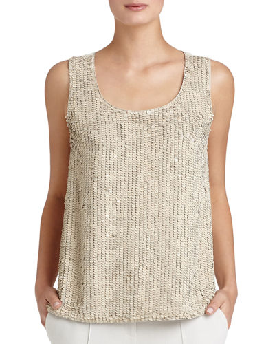 Cleo Sleeveless Sequined-Front Suede Blouse