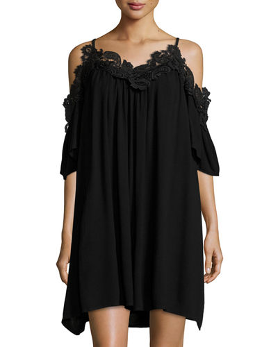 Lace-Trim Cold-Shoulder Shift Dress