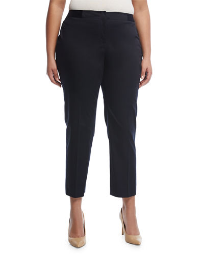 Slim-Leg Cotton-Blend Ankle Pants  Plus Size
