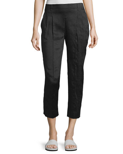 Linen-Blend Pleat-Front Trousers