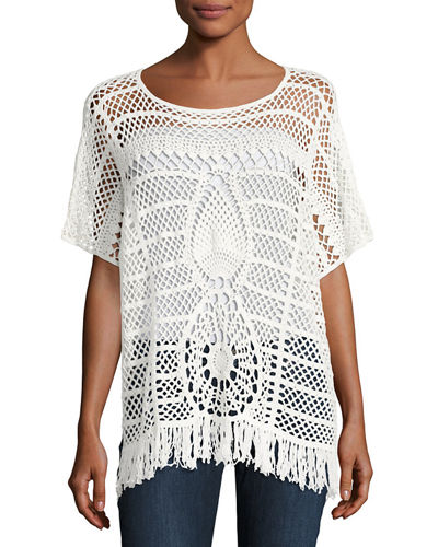 Kimber Crochet-Lace Sweater
