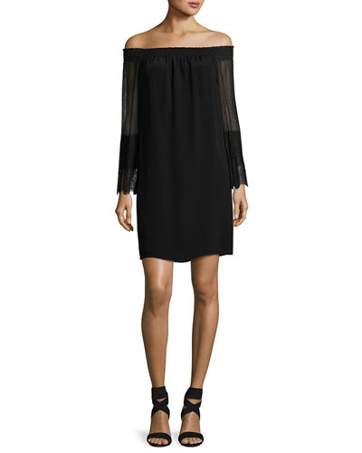 Eva Off-the-Shoulder Silk Mini Cocktail Dress