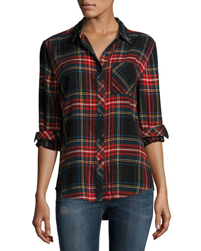 Leigh Plaid Button-Front Blouse