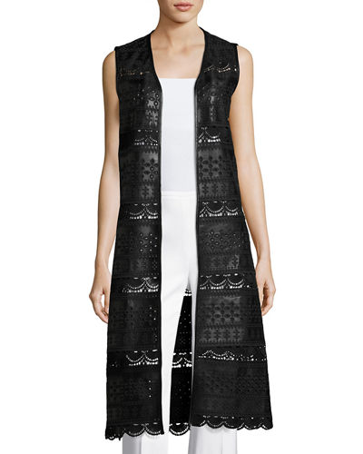 Faux-Leather Duster Vest