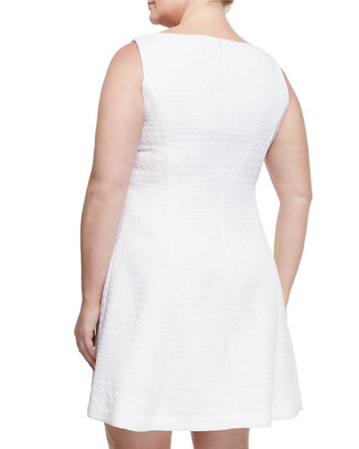 Jacquard Fit-and-Flare Dress, Plus Size